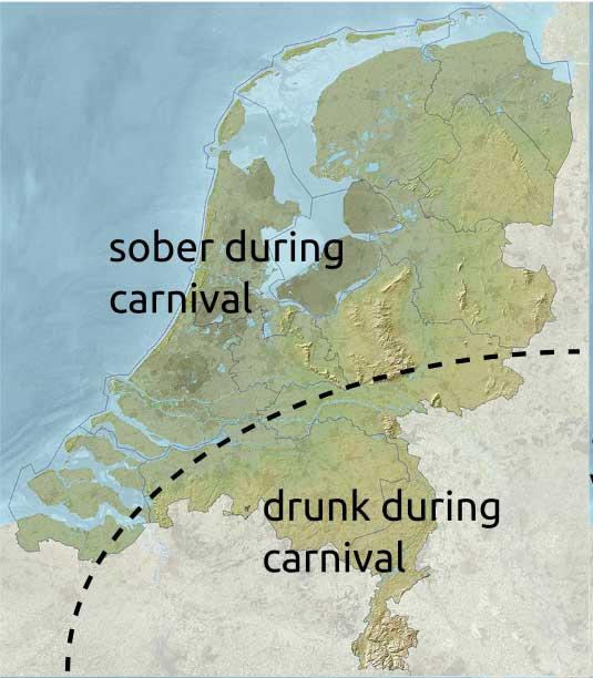 Mapa da Holanda dividindo o carnaval entre o norte, que permanece sóbrio e o sul, que fica bêbado no carnaval