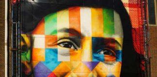 Brasileiro Eduardo Kobra faz mural em homenagem à Anne Frank em Amsterdam na Holanda