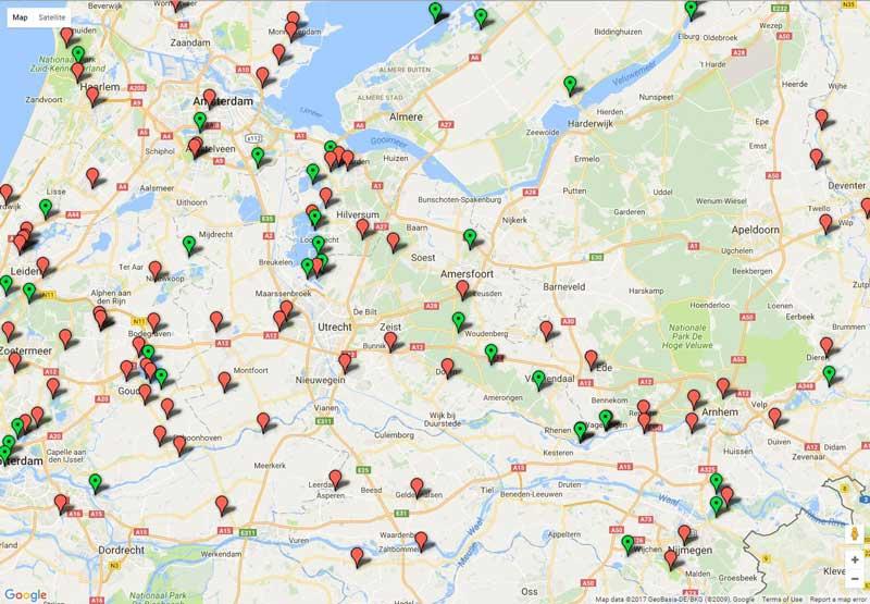 mapa mostrando pontos com pistas de patinação no gelo ao ar livre na Holanda