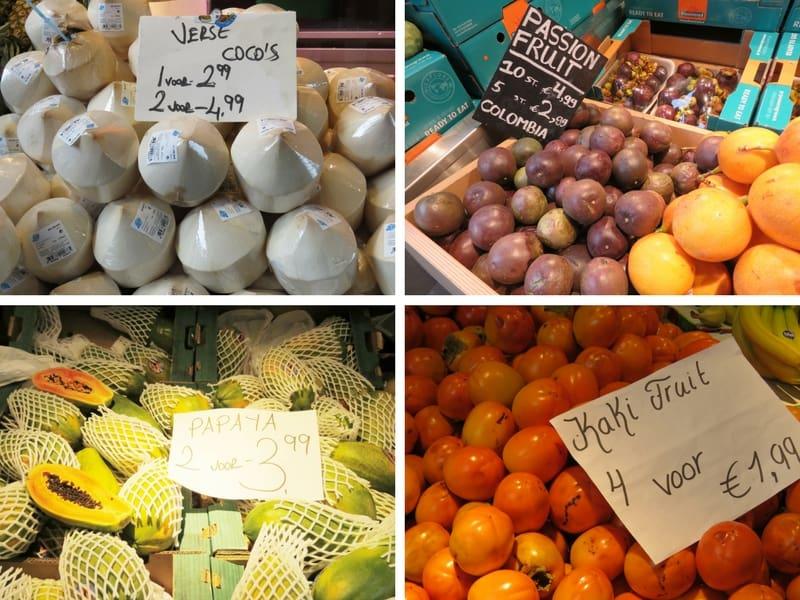 Onde encontrar Frutas típicas do Brasil no Markthal em Rotterdam: agua de coco, maracuja, caqui e mamão papaia