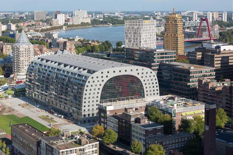 Vista Aérea do Markthal, o mercado e ícone de Rotterdam