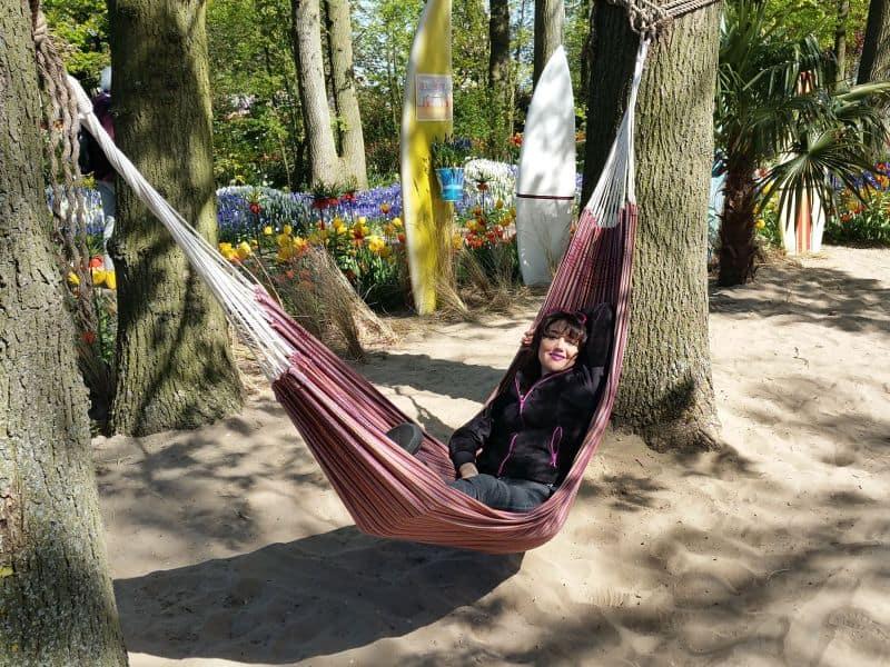 Jardim Inspiração do Keukenhof simulando um jardim numa casa de praia