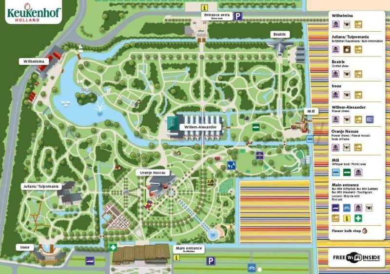 Mapa do Keukenhof, o jardim de tulipas da Holanda, com todas as suas atrações.