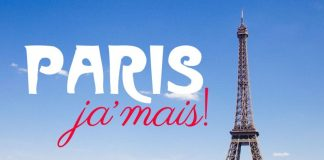 Torre Eiffel em Paris com texto paródia de Paris Je t'aime. Em vez disso está escrito Paris jamais!