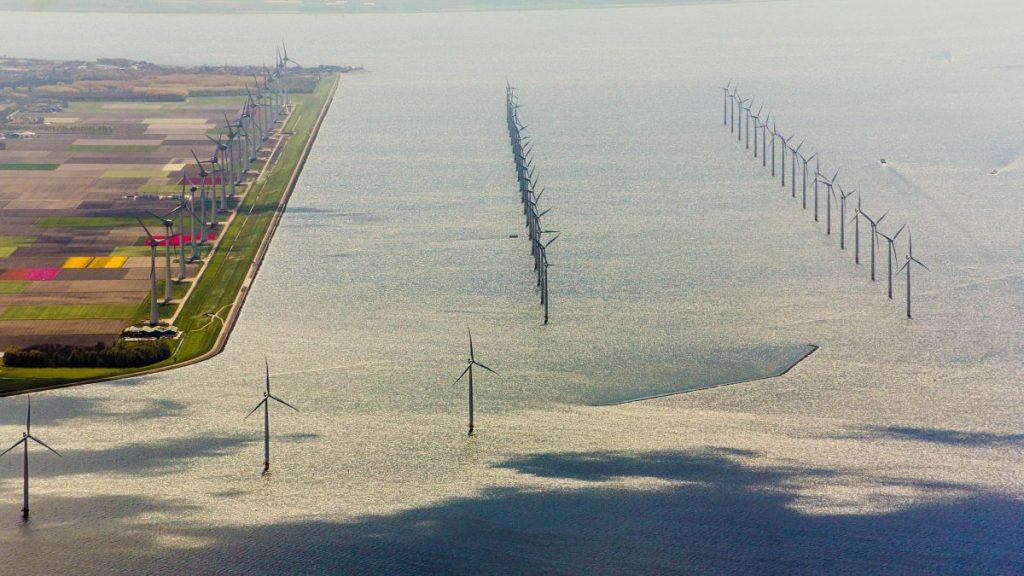 campos de tulipas na holanda e diques visto de cima, de helicoptero
