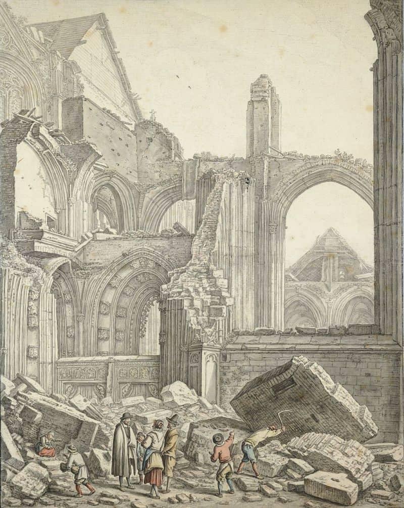 ruínas da Igreja de São Martinho, onde fica a Domtoren em Utrecht, após a tempestade