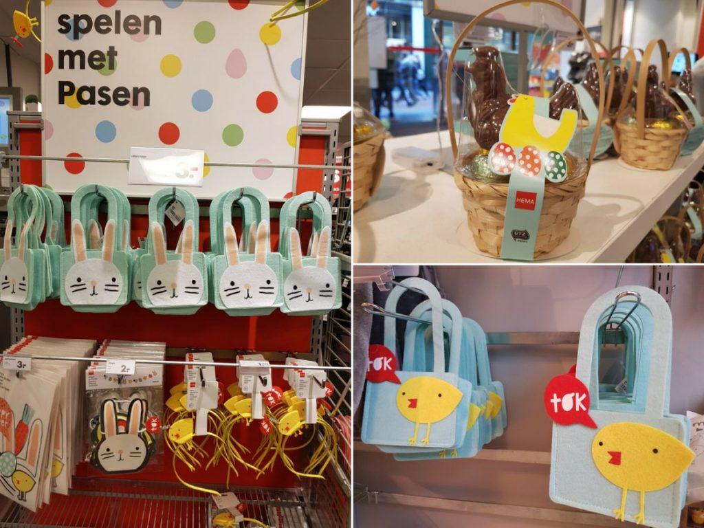 Decoração de Páscoa na Holanda. Em vez de Coelhinho da Páscoa, tem lebre, galo e até pintinho.