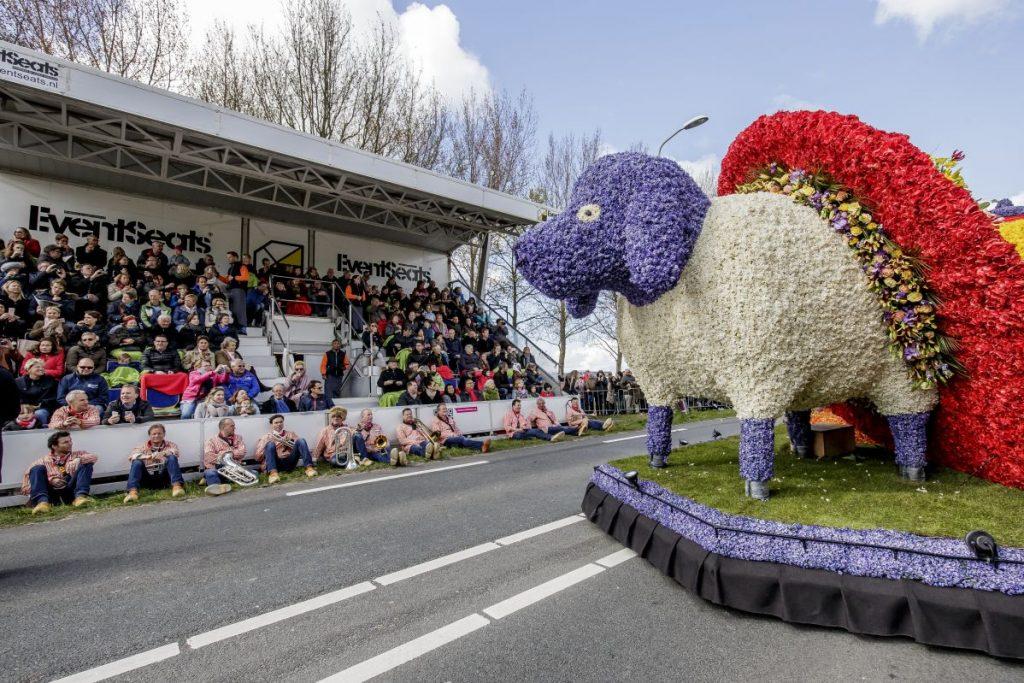 Como assistir à Parada de Flores do Keukenhof: sentado na tribuna VIP, assistindo ao carro alegórico com flores de casal típico holandês