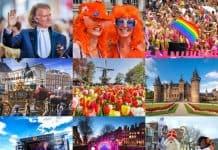 colagem com eventos na Holanda durante o ano: show do andré rieu em Maastricht, Dia do Rei, Parada Gay nos Canais de Amsterdam, Keukenhof e Campos de Tulipas, Dia do Castelo, Festivais de Música, Festival de Luzes de Amsterdam e Desfile do Sinterklaas